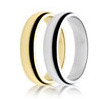 Image showing one yellow gold and one white gold plain wedding ring
