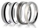 Four plain wedding rings in TITANIUM, ZIRCONIUM, TUNGSTEN and STEEL