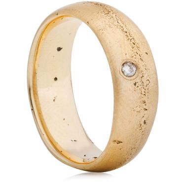 Autumnal wedding Diamond set wide sandcast ring
