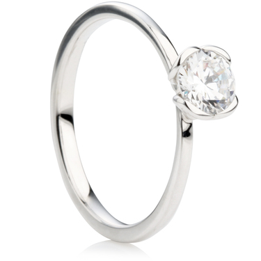 Engagement ring with open heart setting diamonds