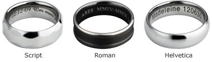 laser engraved wedding rings
