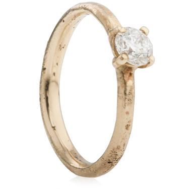Autumnal wedding Half Carat Sandcast Engagement Ring