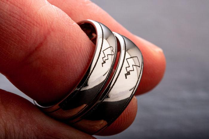 bespoke laser engraved wedding rings