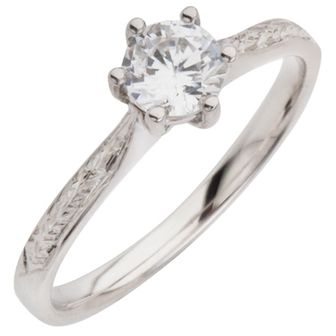 brilliant cut hand engraved engagement ring